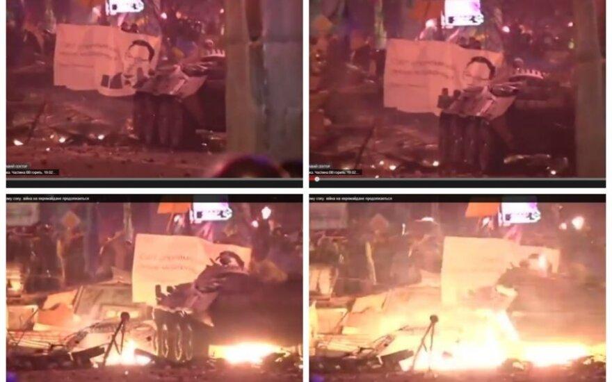 Karas Kijevo gatvėse: vaizdo įrašuose – šarvuočio sprogimas