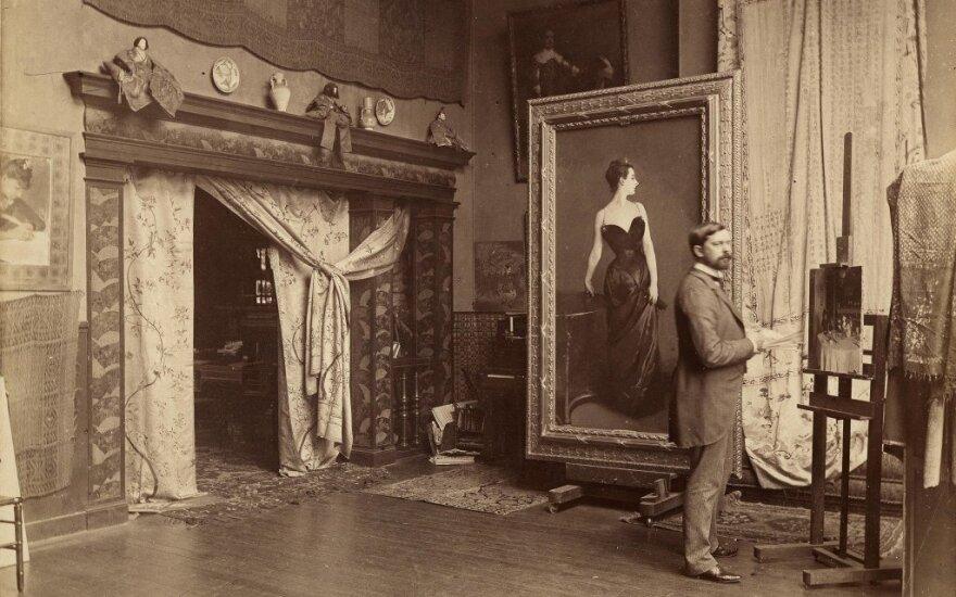 """Johnas Singeris Sargentas savo studijoje prie """"Madam X portreto"""", 1885 m."""