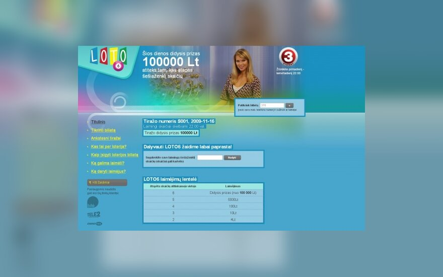 """Naujos loterijos """"Loto 6"""" rezultatai ir taisyklės - loto6.delfi.lt"""