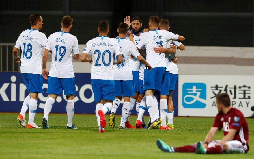 EURO 2020 atranka, Latvijos ir Slovėnijos rinktinių mačo akimirka