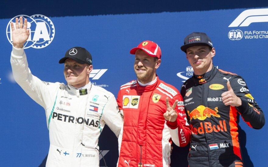 Sebastianas Vettelis, Maxas Verstappenas ir Valteri Bottas