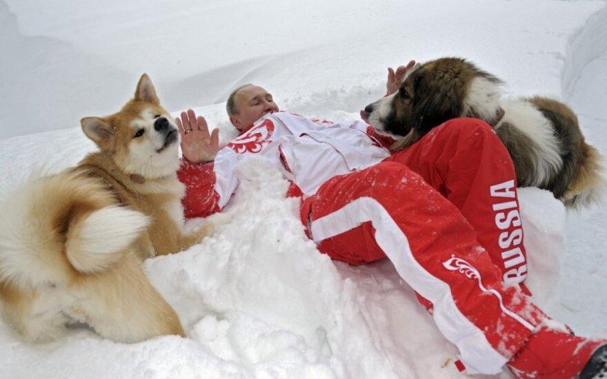 V.Putinas žaidžia su šunimis