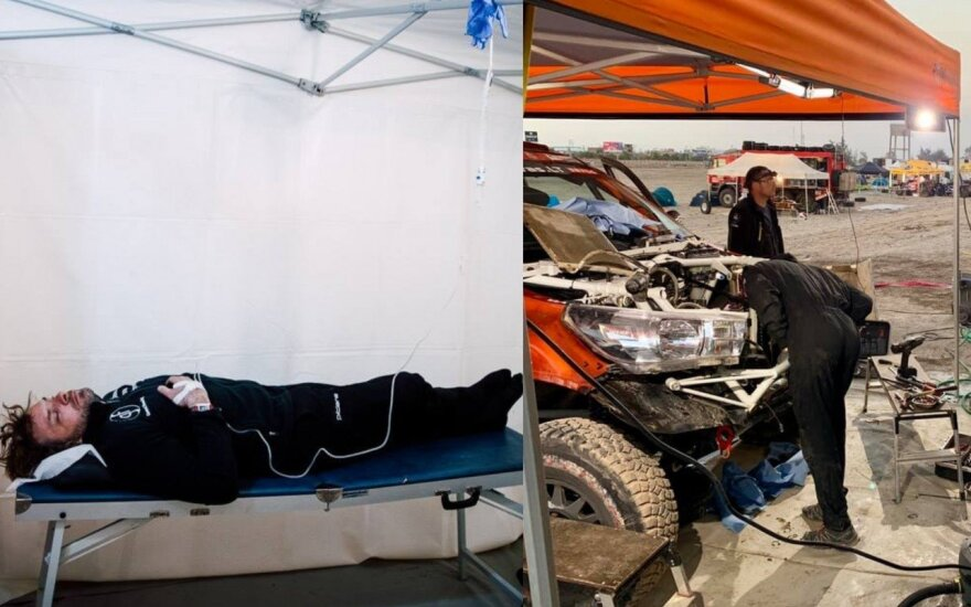 """Benediktas Vanagas ir """"Craft bearings"""" komandos bolidas. Ryčio Šeškaičio (kairėje) ir #iGo2Dakar (dešinėje) nuotr."""