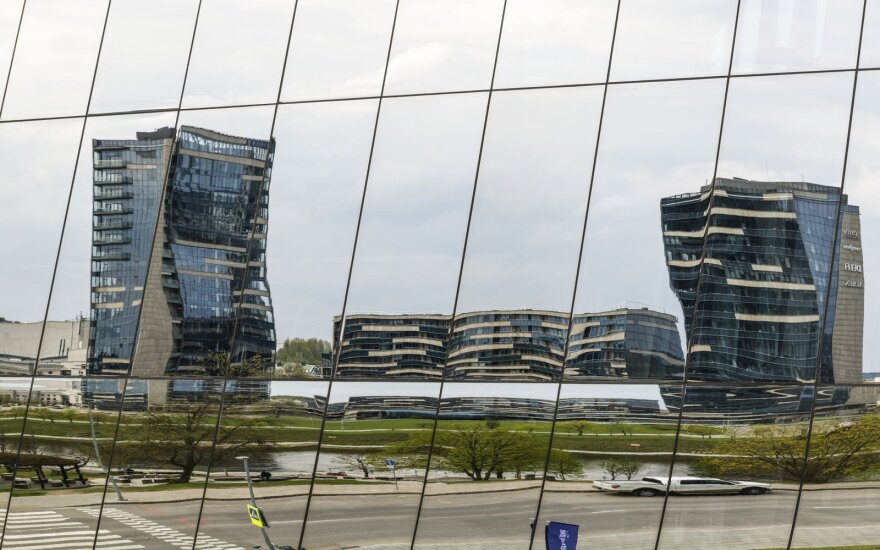 Office buildings seen during Open House Vilnius from Green Hall's reflecting windows Photo © Ludo Segers @ The Lithuania Tribune