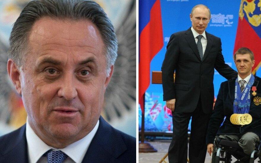 Vitalijus Mutko ir Vladimiras Putinas (AP/Scanpix/RIA Novosti nuotr.)