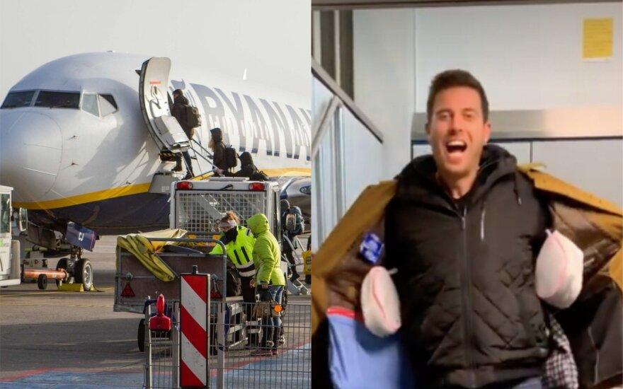 """Keliautojas apgavo """"Ryanair"""" ir įlipo į lėktuvą be jokio papildomo mokesčio už bagažą"""