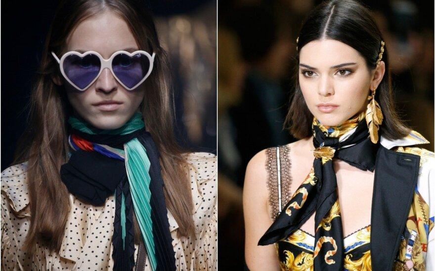 """Skarelės """"Gucci"""" ir """"Versace"""" mados namų kolekcijų pristatyme"""