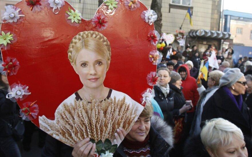 J.Tymošenko rėmėjai sveikina buvusią Ukrainos premjerę su gimtadieniu