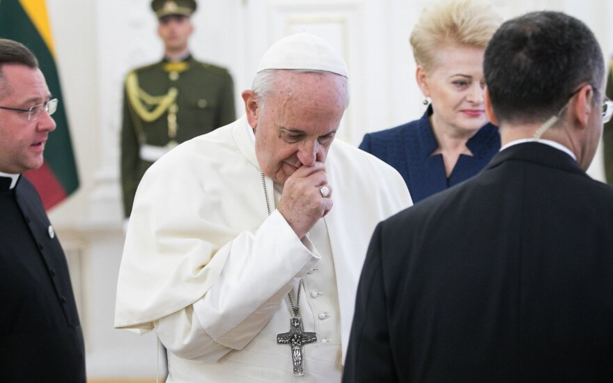 Pope Francis at the Presidential palace in Vilnius