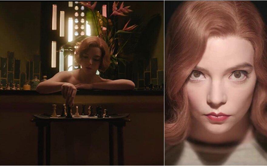 "Kadrai iš serialo ""Queen's Gambit"", Anya Taylor Joy"