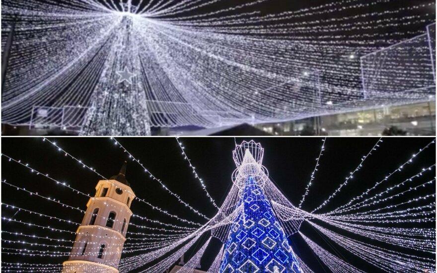 Kalėdinės eglutės Vilniuje ir Bogotoje