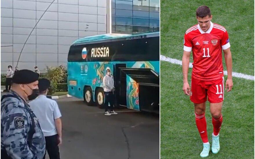 Rusijos futbolo rinktinė Maskvos oro uoste. Romanas Zobninas