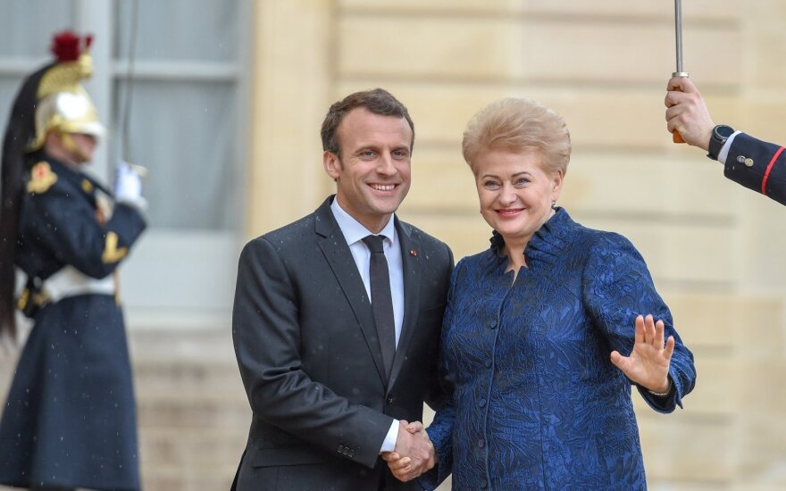 Emmanuel Macron and Dalia Grybauskaitė