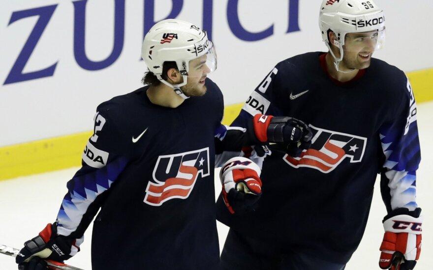 Pasaulio ledo ritulio čempionatas, JAV rinktinė pranoko norvegus