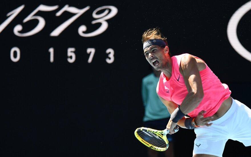 """""""Australian Open"""": beveik tobulai žaidęs Nadalis aštuntfinalyje susitiks su Kyrgiosu"""