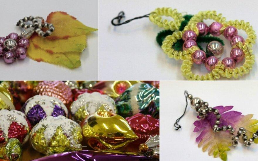 Kalėdų eglutės žaisliukai: nuo šiaudinių angelų iki stiklinių burbulų
