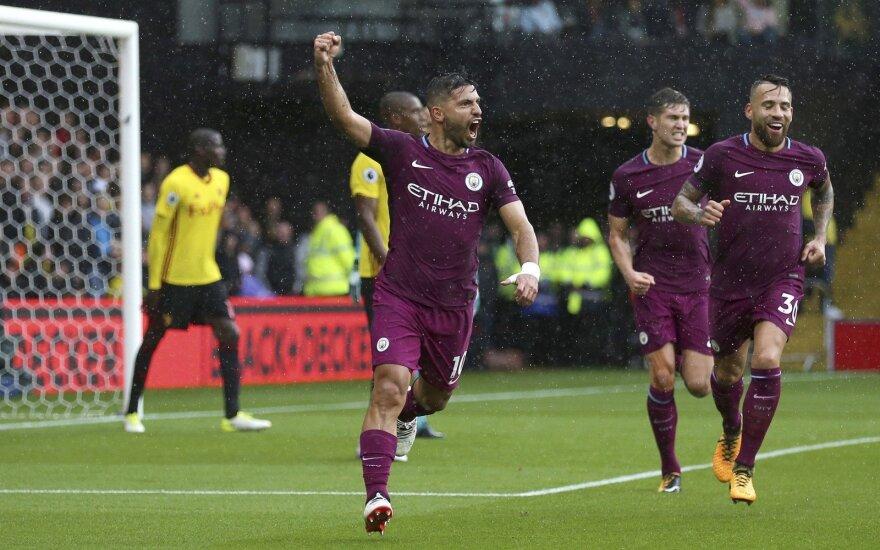 """Sergio Aguero į """"Watford"""" vartus pelnė tris įvarčius."""