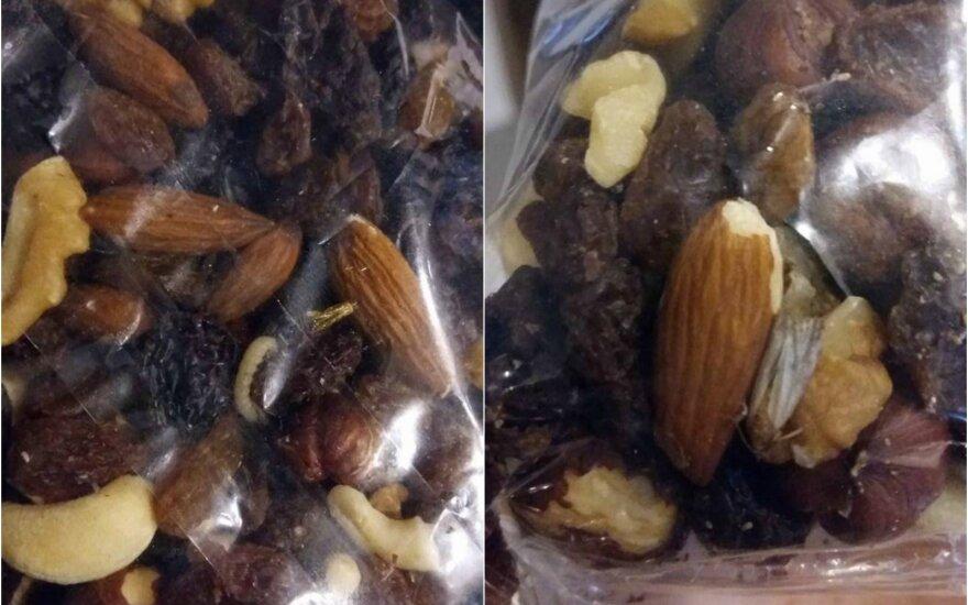 Džiovintų vaisių ir riešutų pakuotėje – nemalonus radinys