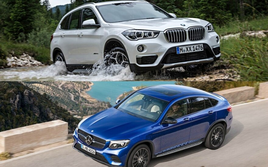 """BMW X1"" ir ""Mercedes-Benz GLC Coupe"""
