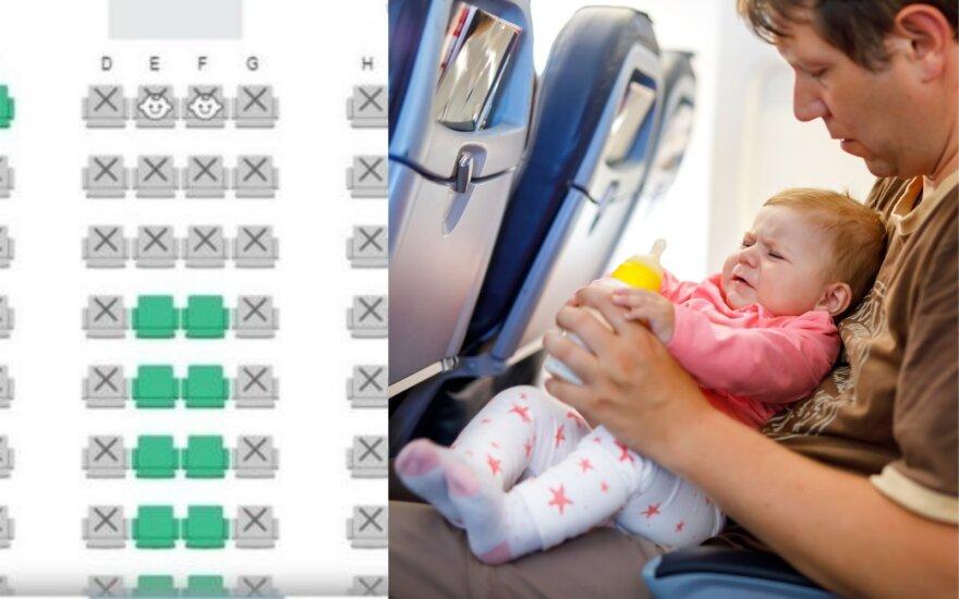 Žymimos vaikų vietos lėktuve