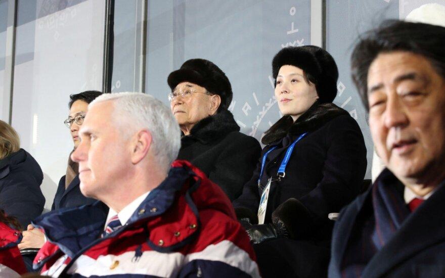Mike'as Pence'as, Kim Yong Namas, Kim Yo Jong, Shinzo Abe