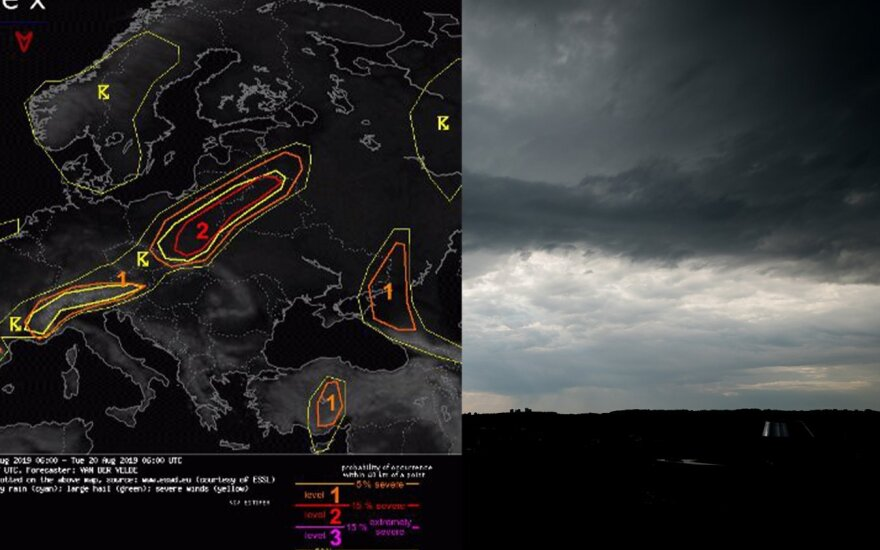 Vasariškas pirmadienis baigsis su trenksmu: audros debesys slinks per visą Lietuvą