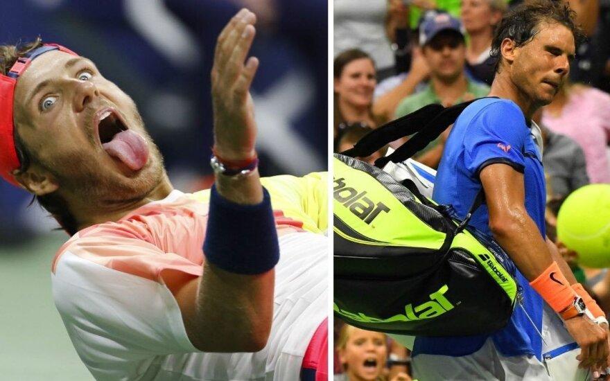 Lucas Pouille ir Rafaelis Nadalis (AP/Reuters/Scanpix nuotr.)