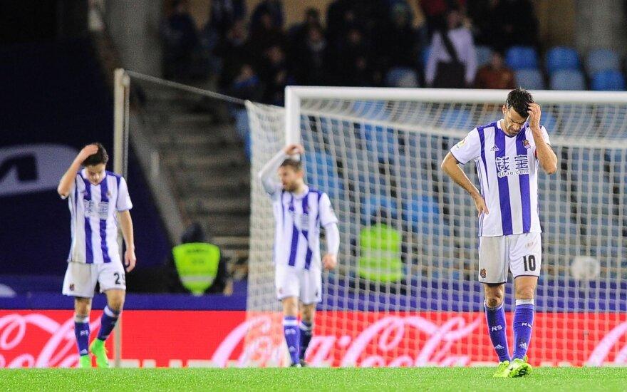 """""""Real Sociedad"""" futbolininkų reakcija po antro varžovų įvarčio"""