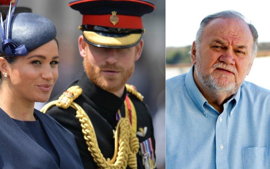 Meghan Markle ir princas Harry, Thomas Markle /Foto: MEGA, Scanpix