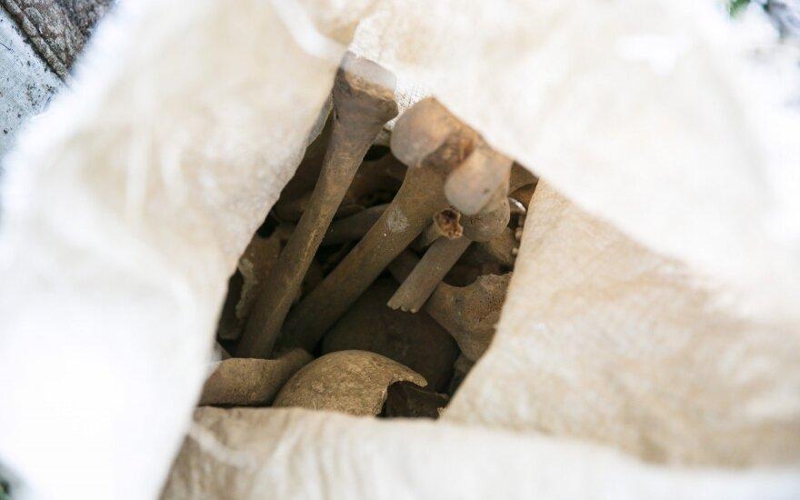 Šiaulių Prisikėlimo aikštėje atkasti žmogaus kaulai, suvynioti į audeklą