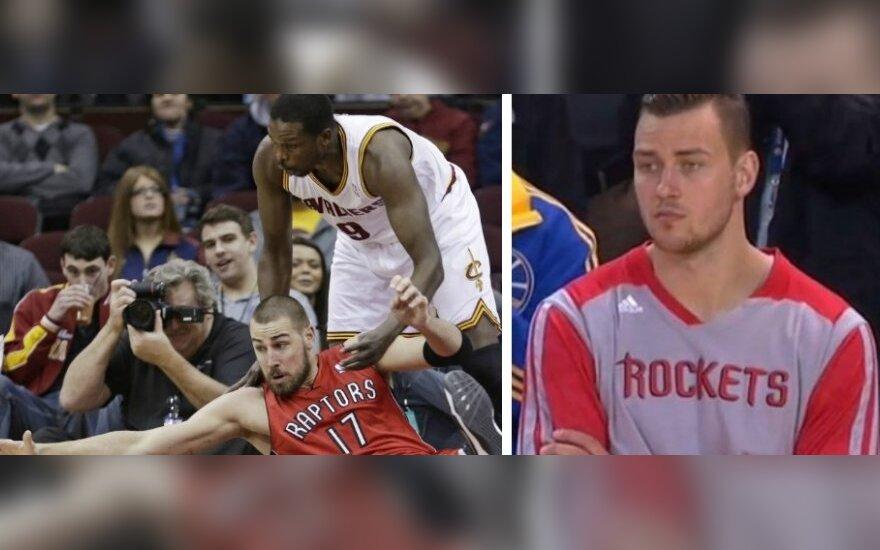 NBA lygoje – blankus J. Valančiūnas ir šešios greitos D. Motiejūno pražangos (DELFI fotomontažas)