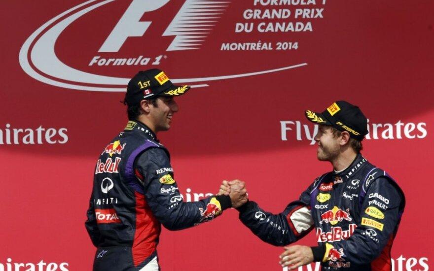 Danielis Ricciardo ir Sebastianas Vettelis