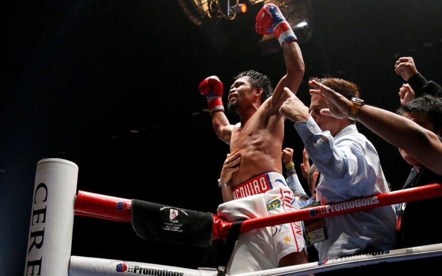 """Pacquiao nokautavo """"Mašiną"""" ir vėl tapo pasaulio čempionu"""