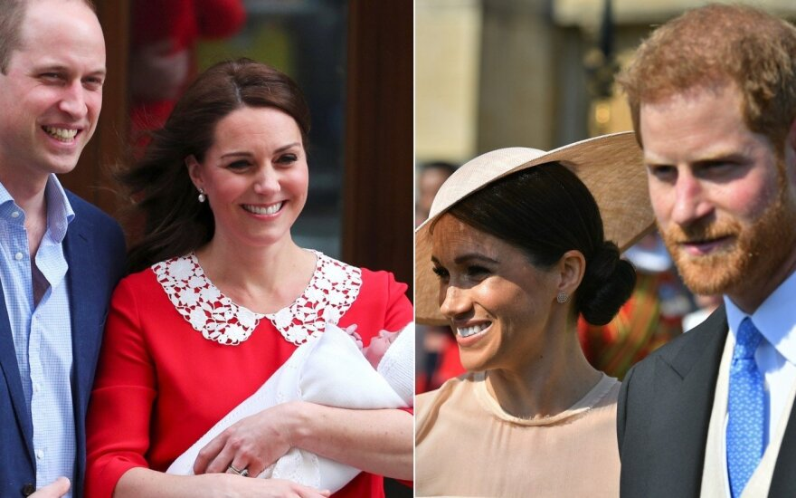 Princo Williamo šeima ir Harry su Meghan Markle