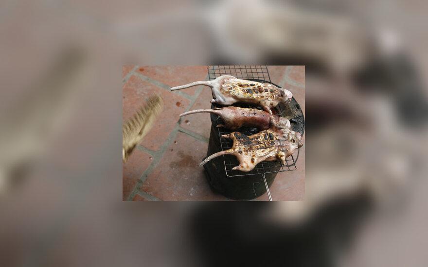 Hanojaus (Vietnamas) priemestyje kepamos skerstos žiurkės