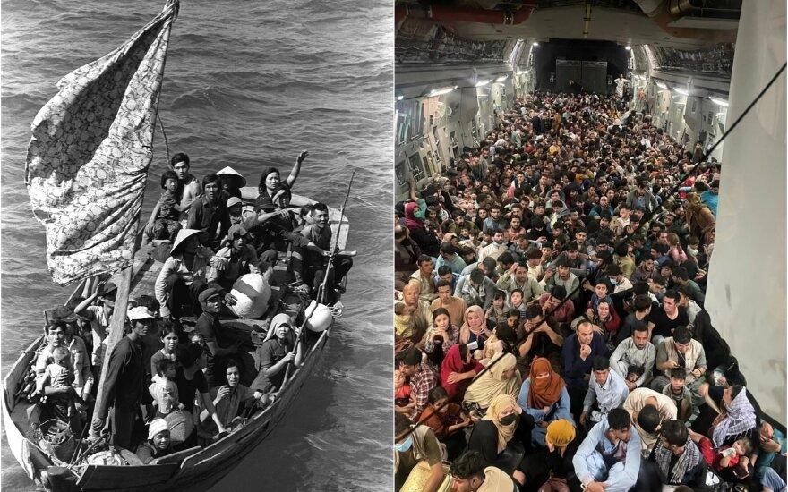 Koliažas: Vietnamo / Afganistano pabėgėliai