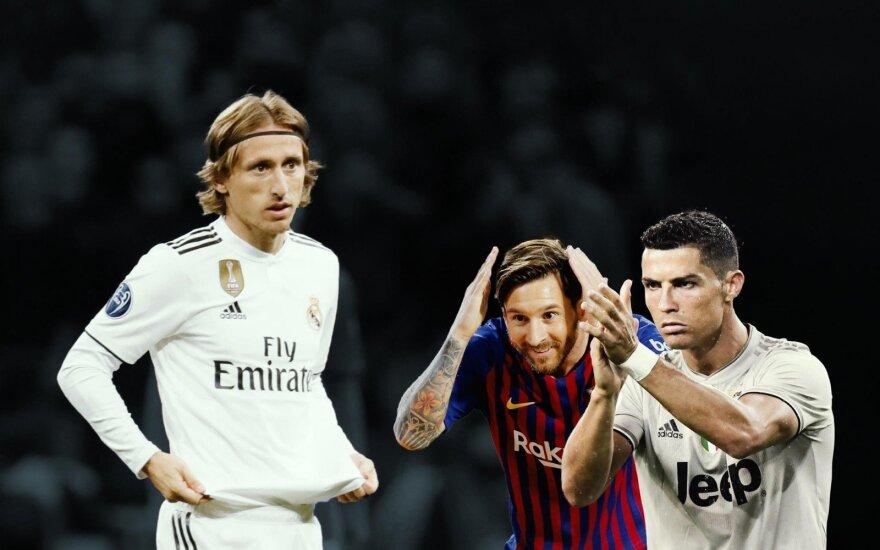 Luka Modričius, Lionelis Messi, Cristiano Ronaldo / DELFI montažas
