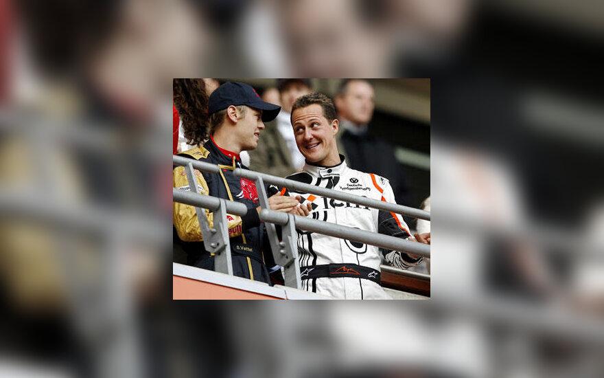 Sebastienas Vettelis ir Michaelis Schumacheris