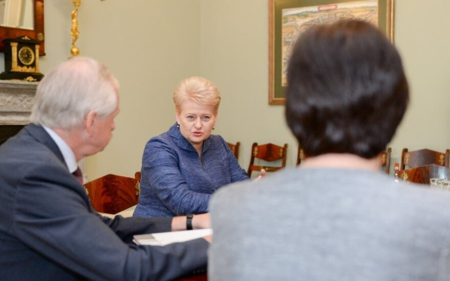 President Grybauskaitė with Finance Minister Gustas and Agriculture Minister Baltraitienė