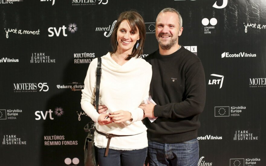 Giedrius Savickas su žmona  Agata Šilobrit