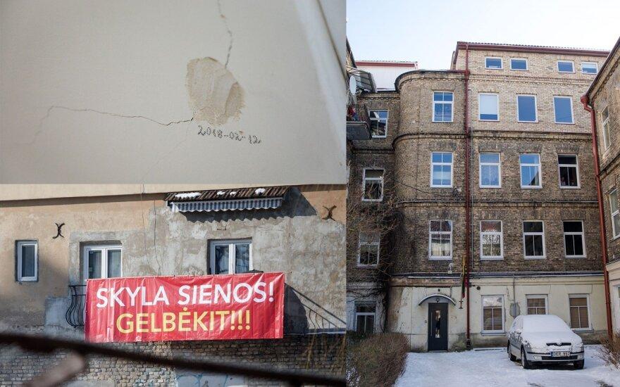 Prestižinės Vilniaus vietos gyventojai šaukiasi pagalbos: dėl statybų skyla sienos