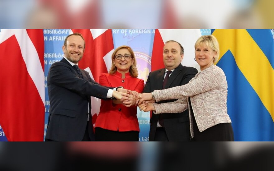 Georgia's Tamar Beruchashvili with foreign ministers of Poland, Denmark and Sweden