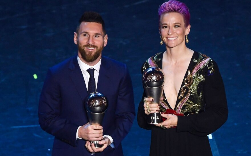 Geriausi pasaulio futbolininkai Lionelis Messi ir Megan Rapinoe