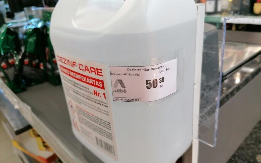 Dezinfekcinio skysčio kaina vienoje parduotuvių