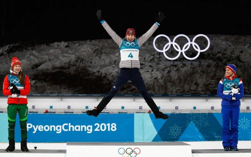 Slovakijos biatlonininkė Kuzmina savo kolekciją papildė trečiu olimpiniu auksu