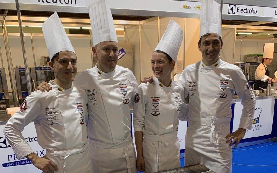 Lietuvos komanda: Erikas Janerikas, Tomas Rimydis, Toma Piskarskaitė, Vilius Ručinskas - Baltic Culinary Heritage 2019