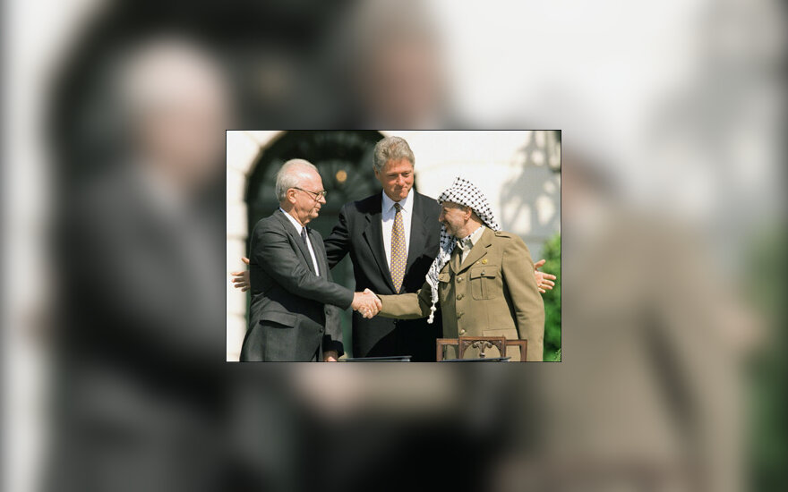 Y.Rabinas, B.Clintonas, Y.Arafatas