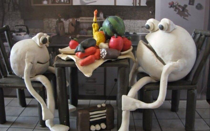 """Plastelininės animacijos filmuko """"Maisto švaistymas"""" stopkadras"""
