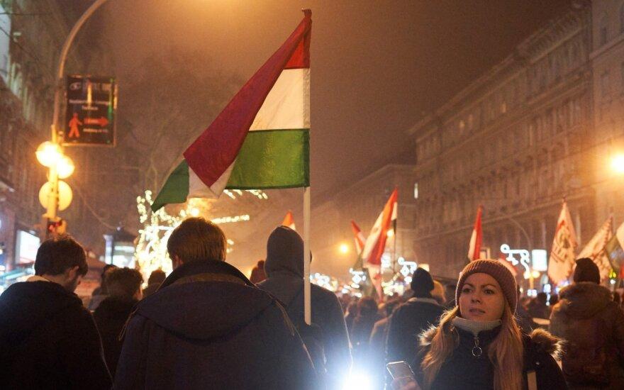 Lietuvė įamžino protestus Vengrijos sostinėje