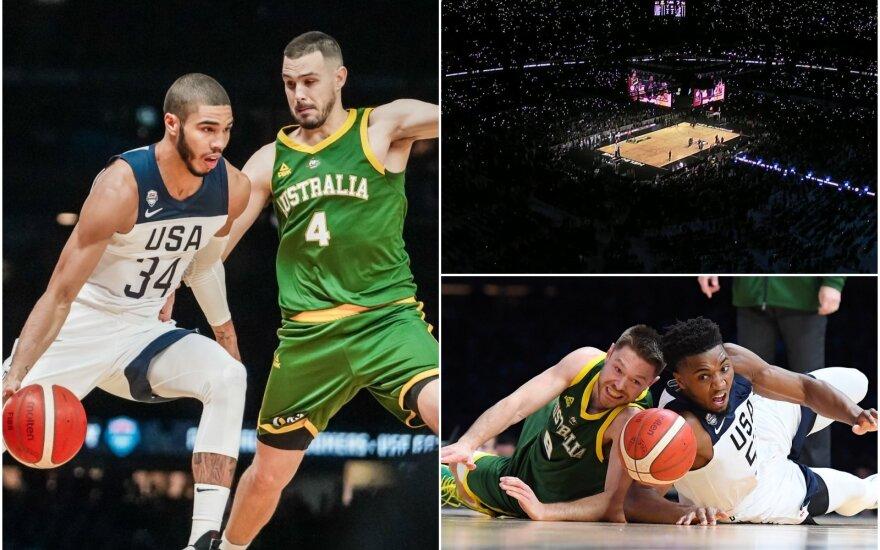 Kontrolinės rungtynės: JAV - Australija / Basketball Australia Twitter